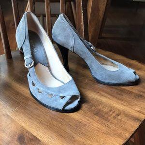 Michael Kors grey leather suede peep-toe heels